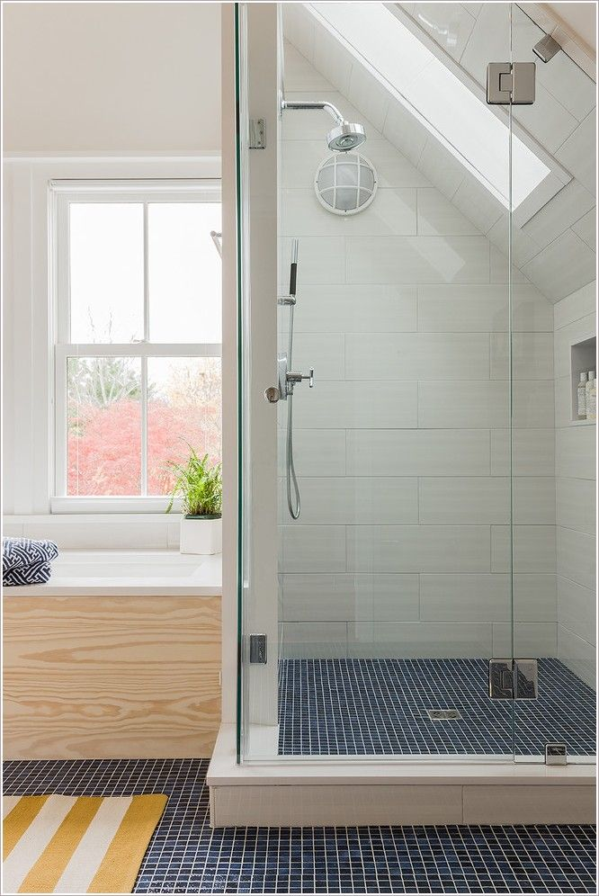 Small Bathroom Designs Slanted Ceiling rectangle+tile+shower+designs |  rectangular-tile-shower-curb