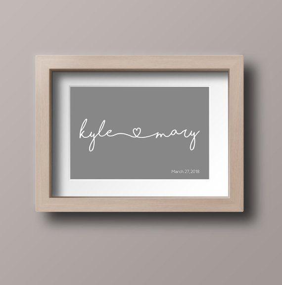 Personalized Engagement Gift, Custom PRINTABLE art, Couple\u0027s Name