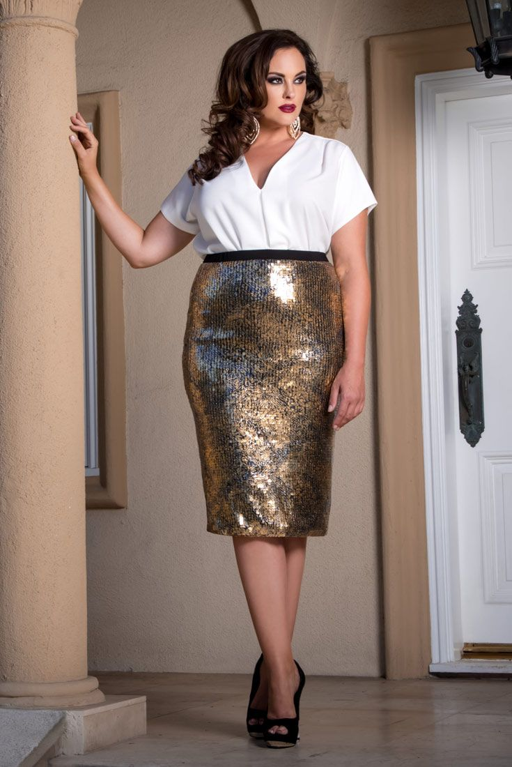 23e1eb751efb Turn heads and sparkle under the Vegas lights in our plus size Baroque  Pencil Skirt. Shop our entire made in the USA collection online at  www.kiyonna.com.