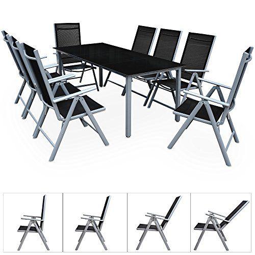 Deuba Aluminium Sitzgruppe 8 1 Silber 8 Verstellbare Stuhle