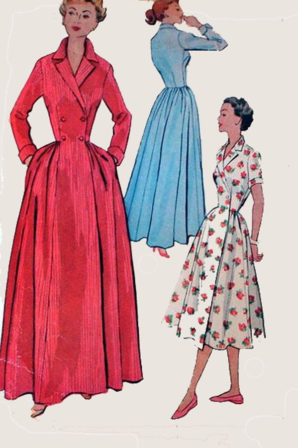 f8efb1035e 1950s Double Breasted Dressing Gown Boudoir Robe Housecoat Wrap Dress  McCalls 8092 Vintage 50s Rockabilly Sewing Pattern…