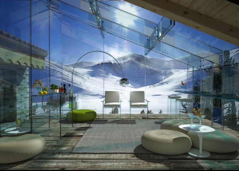 casa com teto de vidro