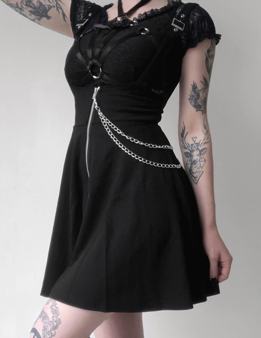 Overall Dress With Chains Overall Dress Dresses Fashion [ 1080 x 834 Pixel ]