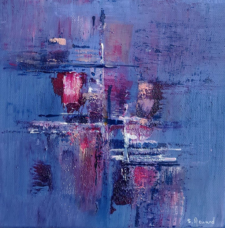 Peinture moderne acrylique et matière Bleu Violet Rose Blanc Noir sur châssis toile coton 20 x ...
