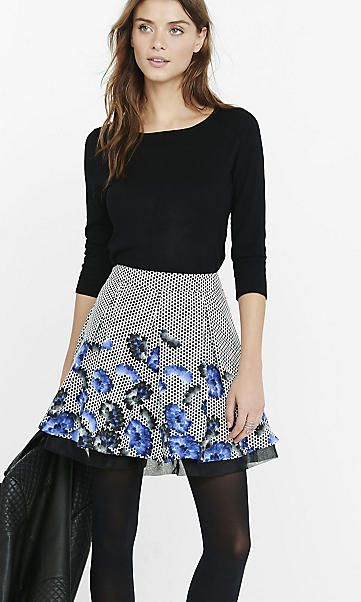 geo floral print organza tiered mini skirt