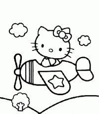 No Aviao Hello Kitty Coloring Hello Kitty Colouring Pages Hello Kitty Tattoos