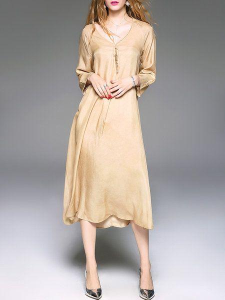 Shop Midi Dresses - Asymmetrical Long Sleeve Casual Plain Cupro Midi Dress online. Discover unique designers fashion at StyleWe.com.