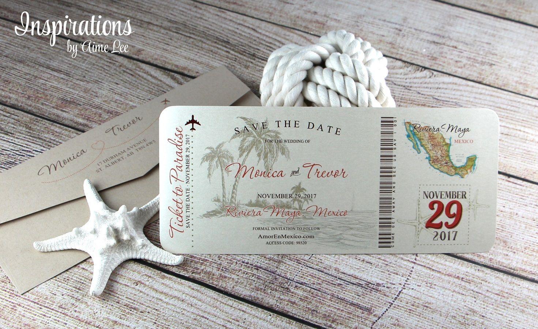 Save the dates, Boarding pass invitations, destination