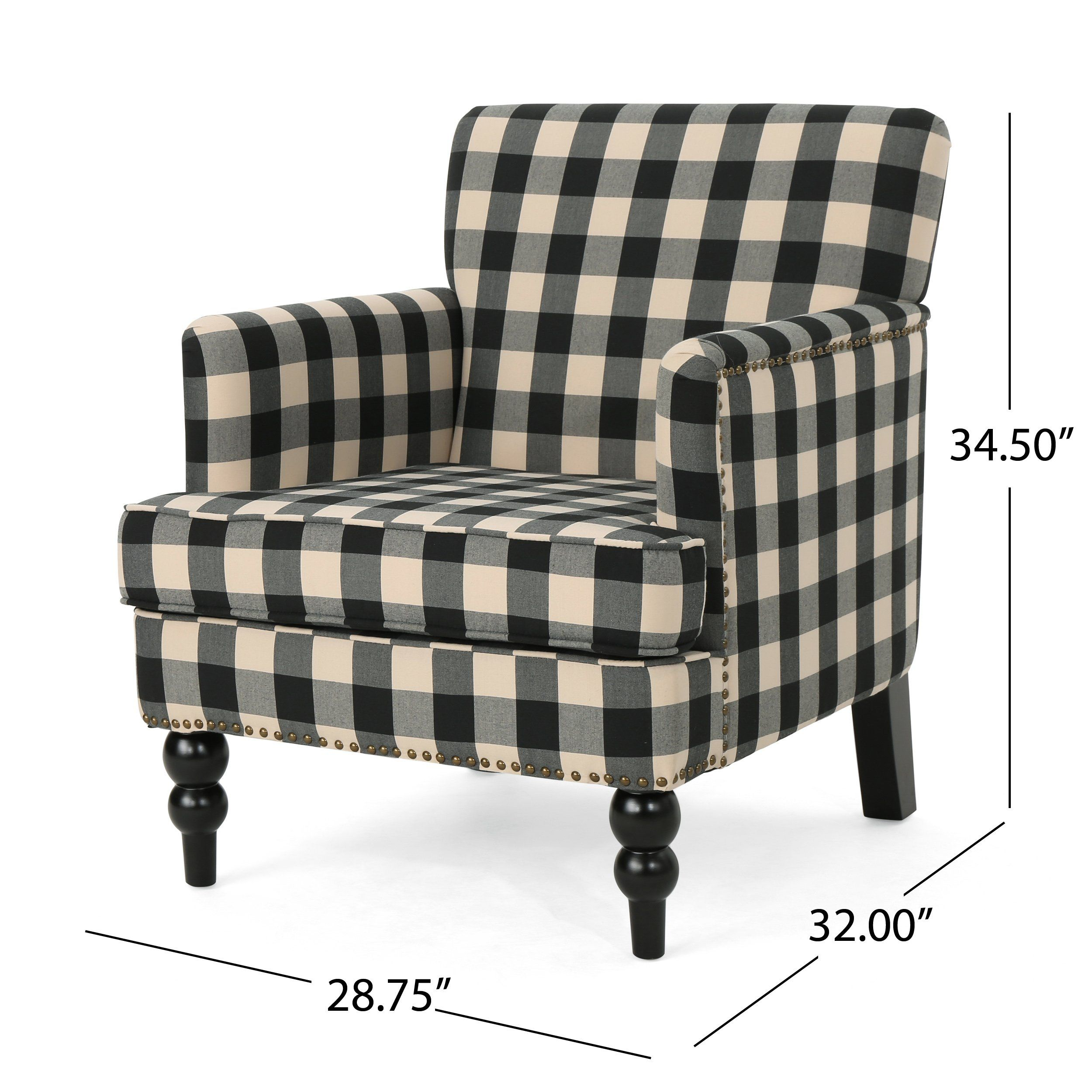 Christopher Knight Home 305559 Evete Tufted Fabric Club Chair Black Checkerboard Visit The Image Link More Details A In 2020 Plaid Chair Tufted Club Chairs Armchair #plaid #chairs #living #room
