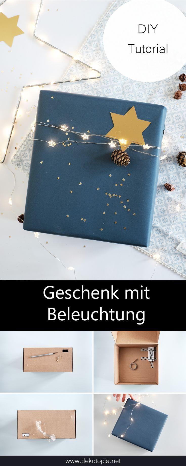 Geschenkverpackung mit integrierter Lichterkette selber machen #creativegifts