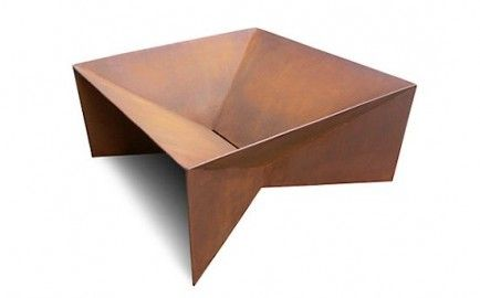Geometric Firepit  A unique design crafted by Plodes Studio, intended to patina over time. Available with a wooden top to create a coffee table when not in use.   From DWR, from $1,200.