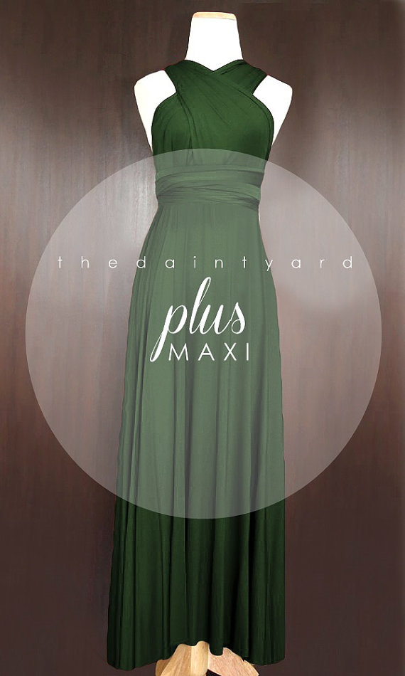MAXI Plus Size Forest Green Bridesmaid Convertible by thedaintyard