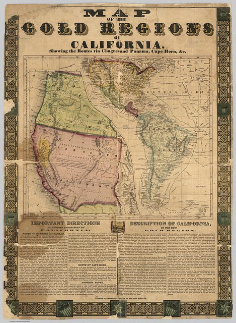 Yerva Buena California Gold Rush Map on