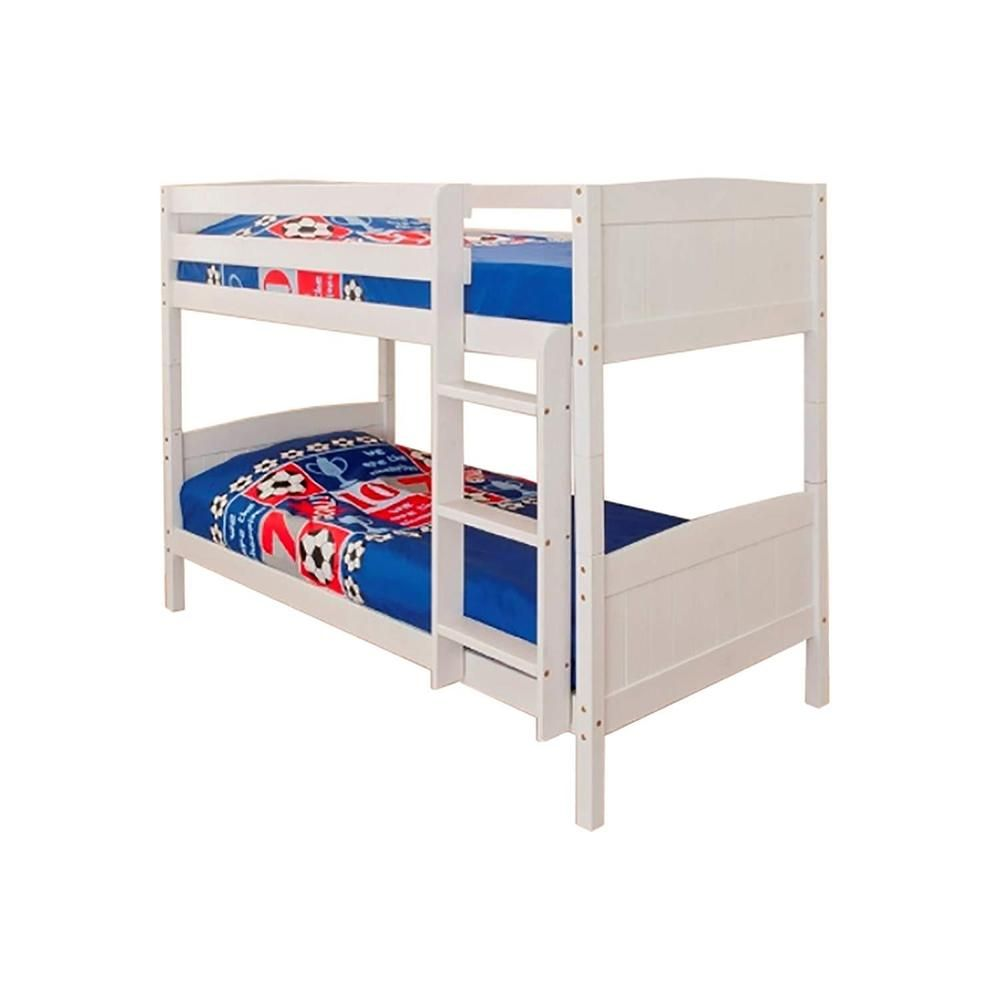 Single Bunk Bed Solid Pine Wood Adjustable Ladder Side Rails White