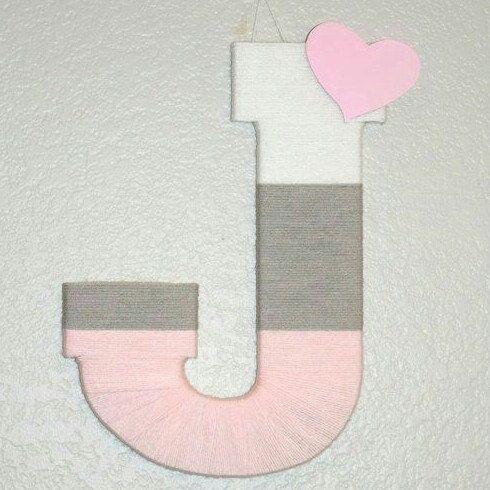 Yarn Letter, Nursery Letter Girl, Pink/ Gray/ White Ombre ...