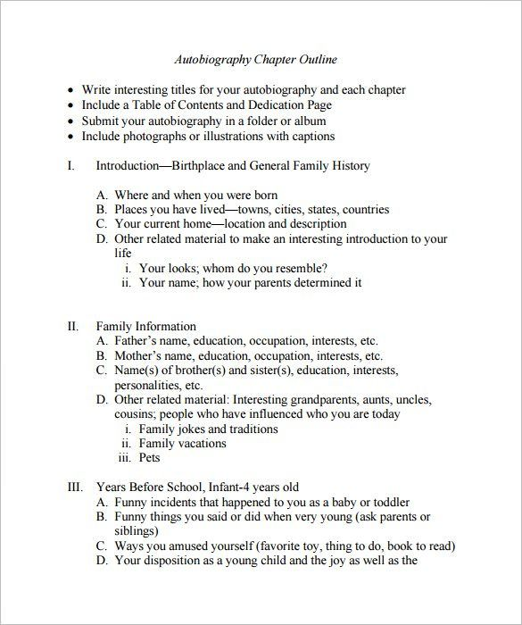 Autobiography Outline Template 8 Free Sample Example Format Download