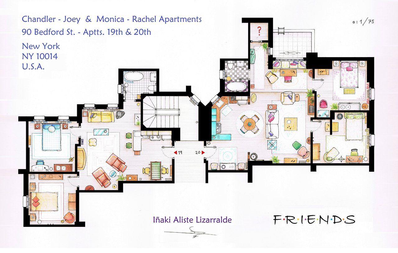 Planta Dos Apartamentos Da Mônica E Rachel Joey Chandler De Friends Apartment Floor Plans