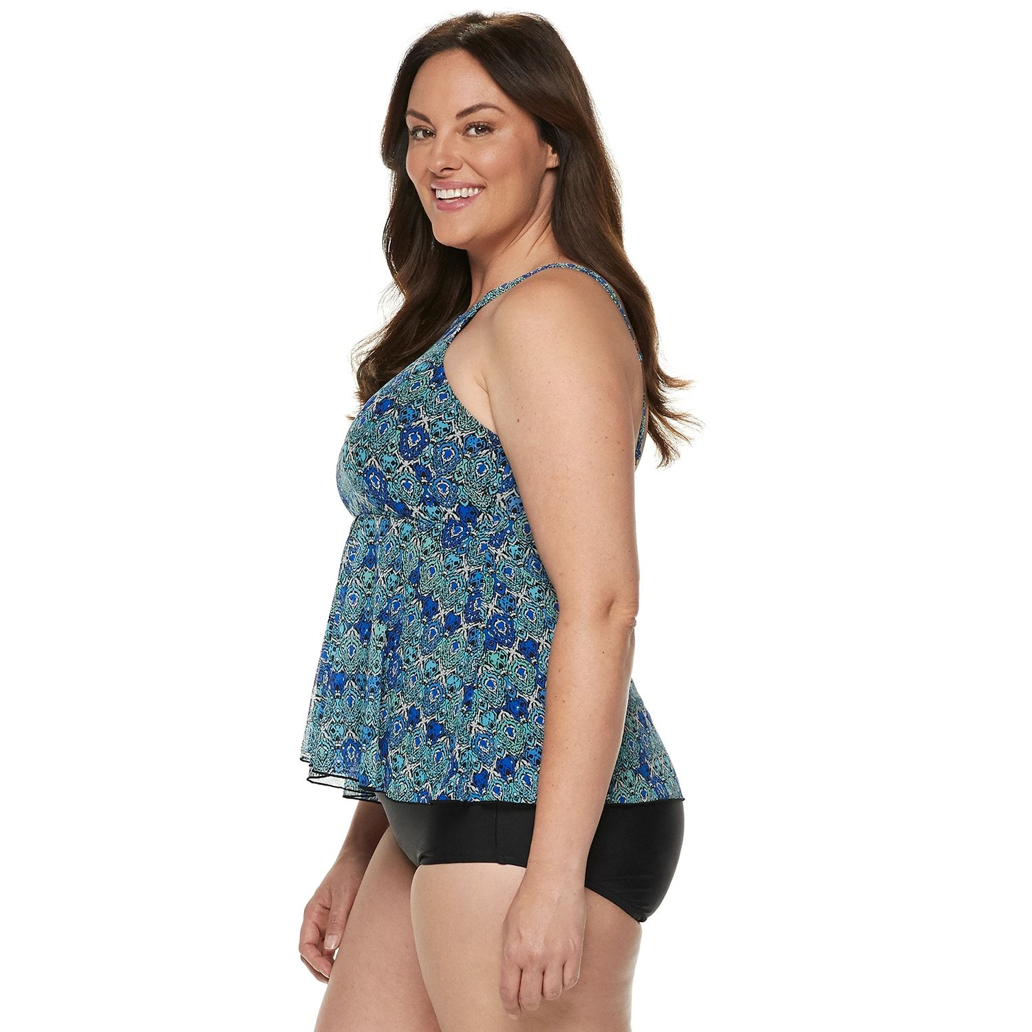 20a8fa7af9 Plus Size A Shore Fit Tummy Slimmer High-Neck Tankini Top  Fit ...