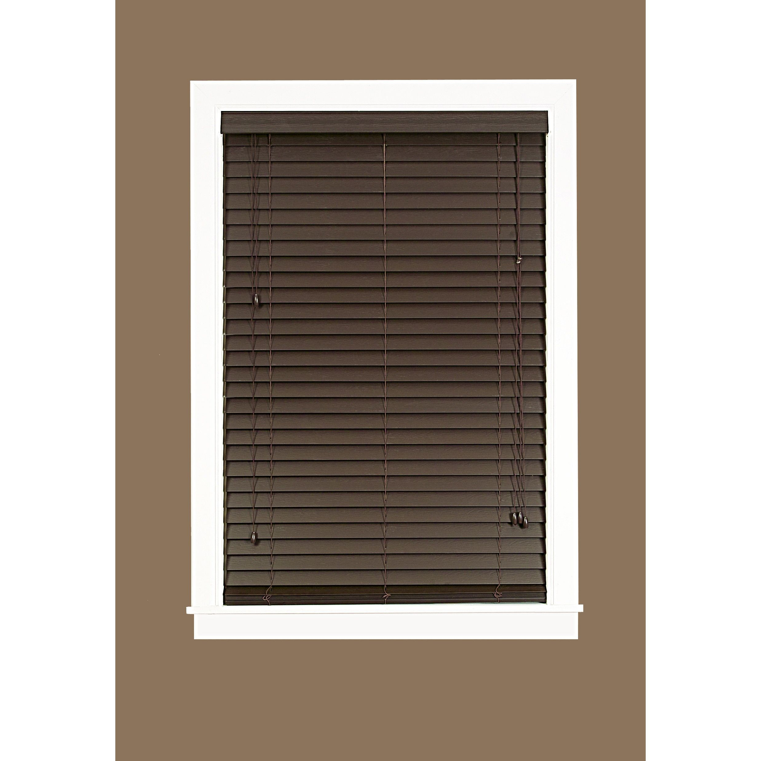 blinds window blind pecan inches brown inch pin x uhf bamboo wood
