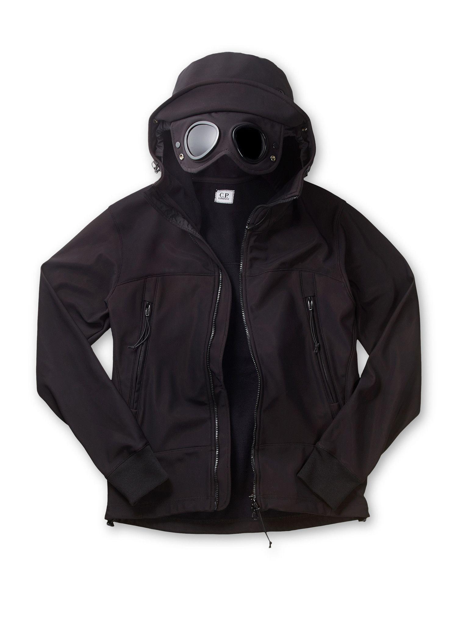 96c5961f2cec C.P. Company Soft Shell Bonded Goggle Jacket in Black | CSLS en 2019