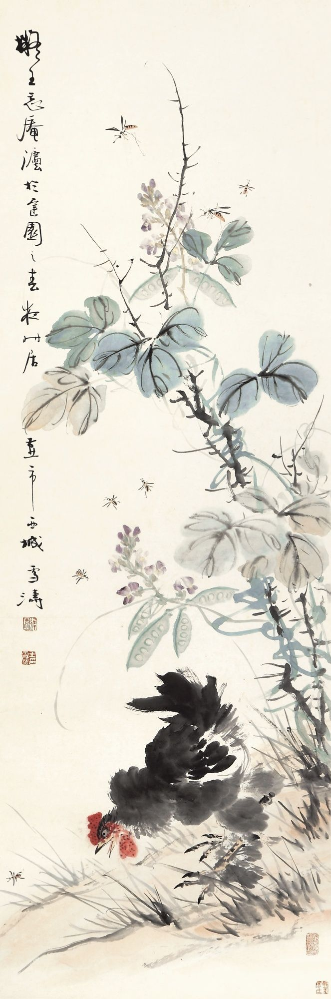 wang xuetao cock and flower | flowers & birds | sotheby's hk0398lot6f79yen