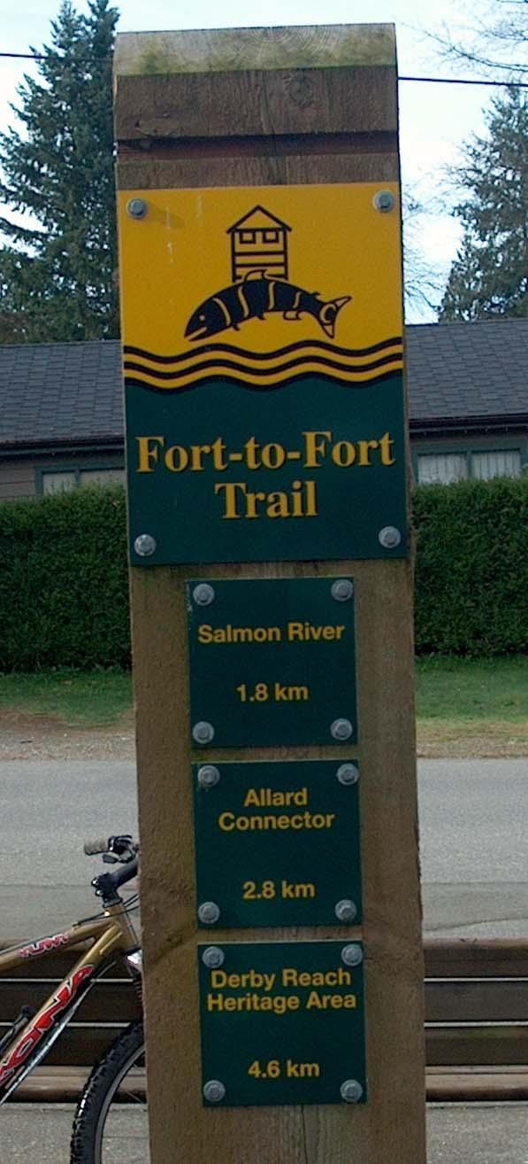 "Fort to Fort Trail near Langley, BC (info from 604PULSE ..""a rural walking trail (and not a hike), the Fort-to-Fort Trail parallels the Fraser River and connects the former 1827 location of the Hudson Bay Fort (present day Derby Reach Park) to the current location of the 1839-era fort that we know today as the Fort Langley National Historic Site. The trail eventually leads you into the heart of the village of Fort Langley eat at Wendel's Cafe or dinner at Beatnik's Bistro.. "")"