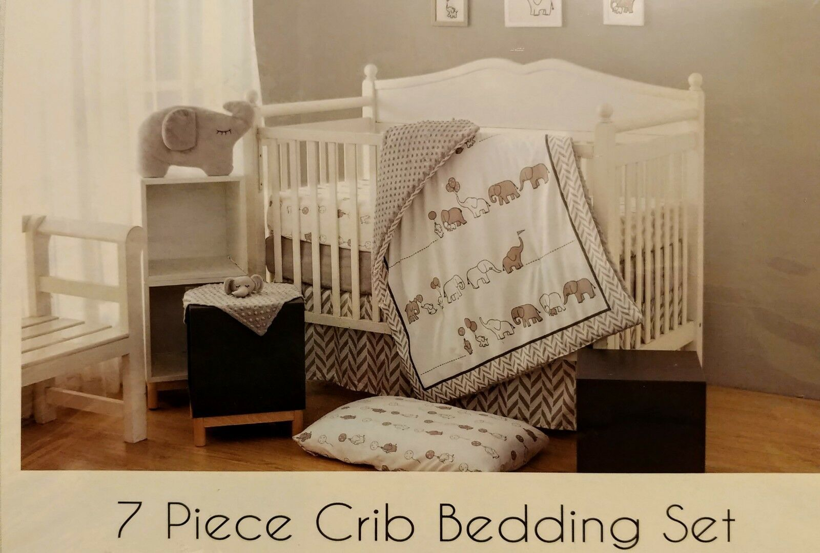 4 Piece Crib Duvet Quilt Set Baby Bedding With Cover Fits Cradle Ecru