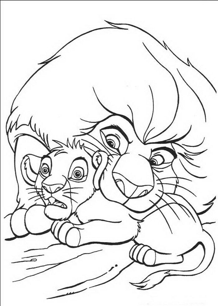 kleurplaat Lion King of de Leeuwenkoning - Mufasa redt Simba ...