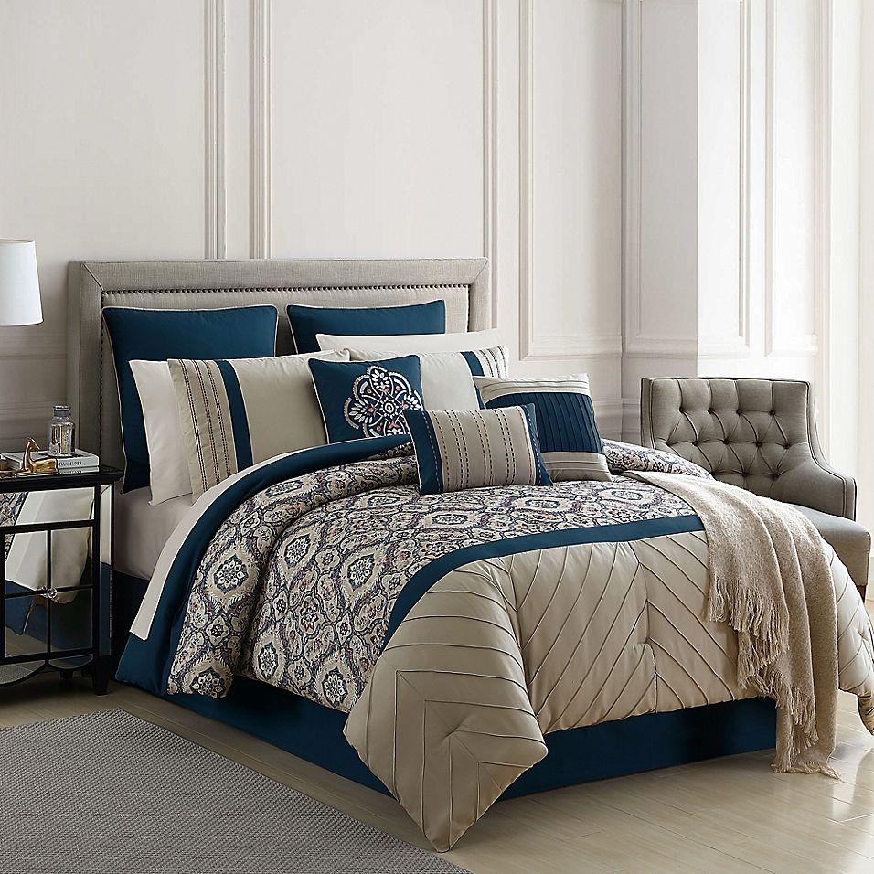 Warrenton Embroidered 14 Piece King Comforter Set In Blue Comforter Sets King Comforter Sets Luxury Bedding Sets Cal king comforter set