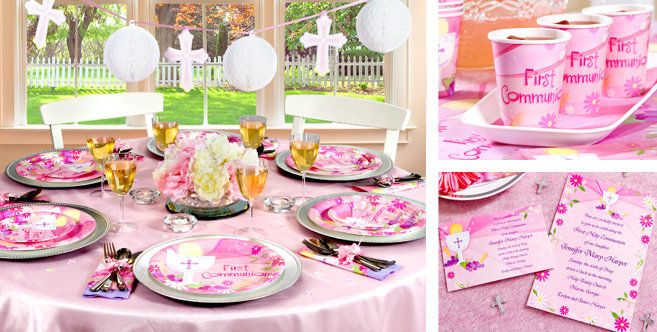 2019 1st HOLY COMMUNION First PINK//GIRL Party Tableware Supplies Decorations