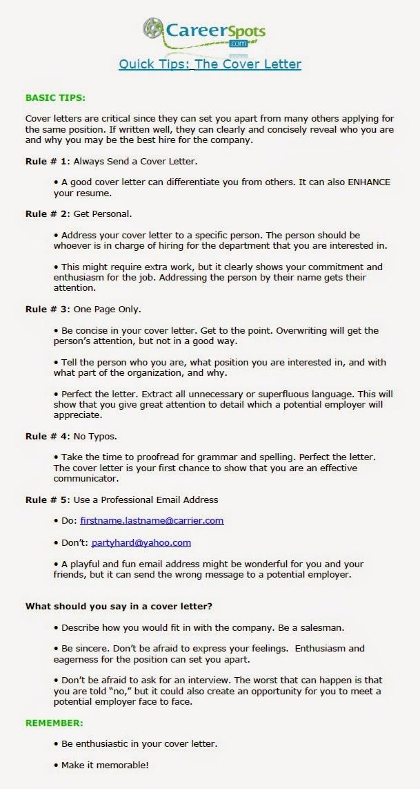 The Cover Letter Quick Tips For Success! Employment 101   Quick Cover Letter  Quick Cover Letter