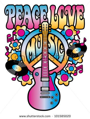 Retro Style Illustration Of A Guitar And Peace Symbol With The Words