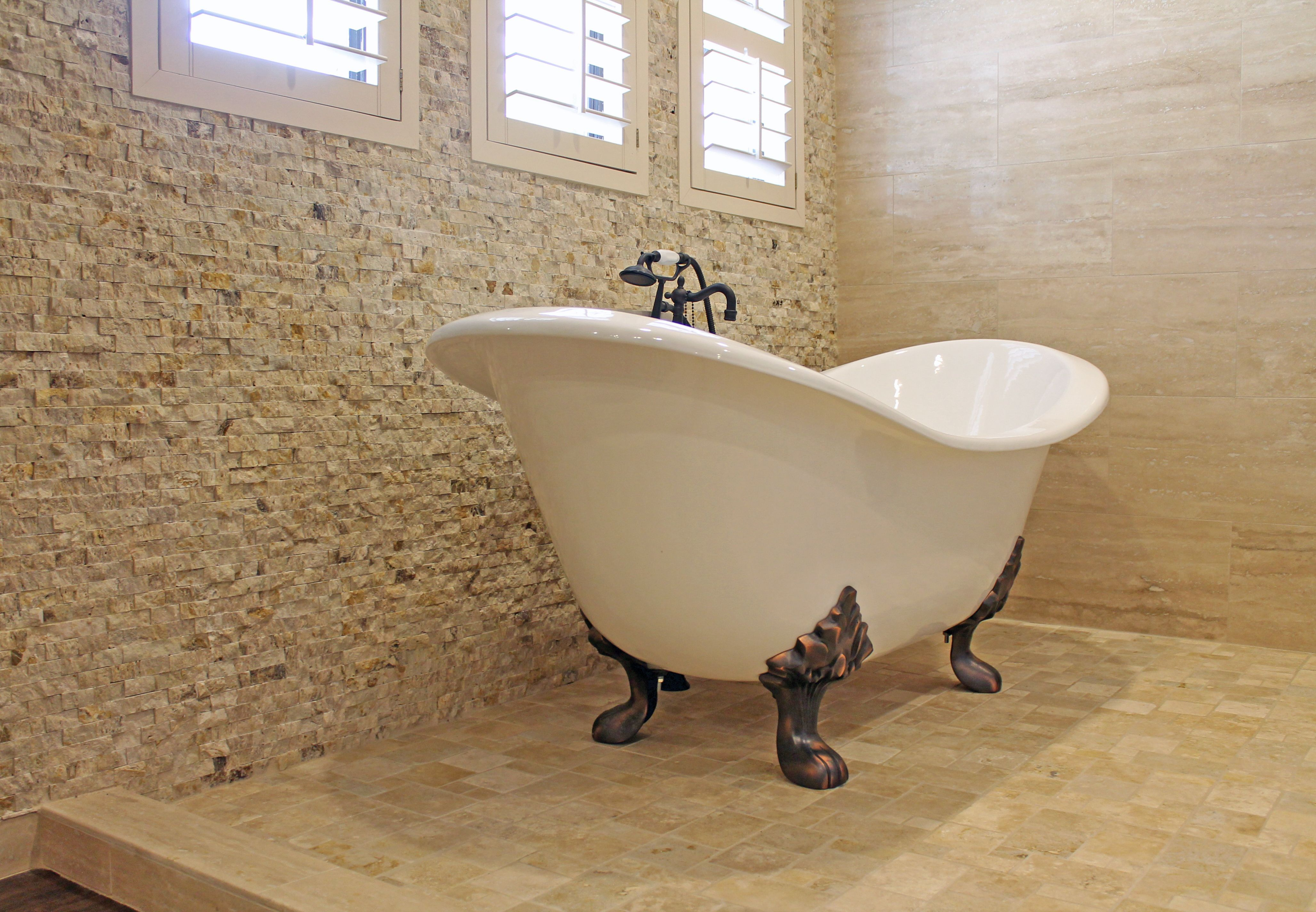 Freestanding Tub With Bronze Legs And Natural Stone Flooring Wall Tile Home Interiordesign Bathroom Bathrooms Remodel Free Standing Bath Tub Remodel