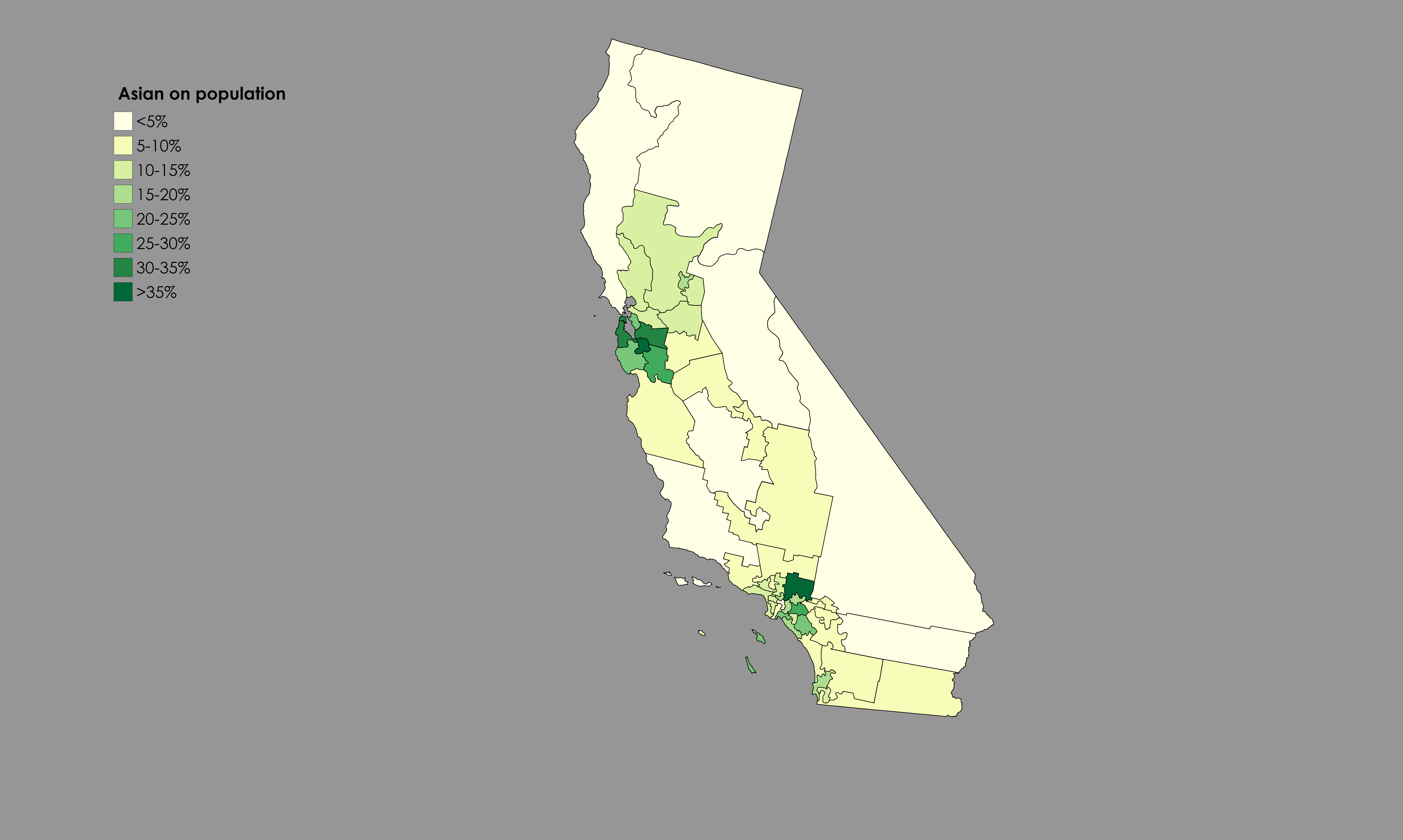 Asian American in California by Congressional District