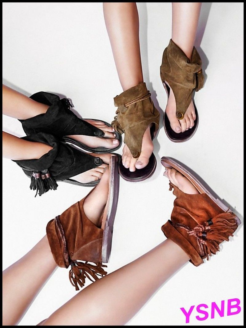 f355017a72686 Roman Women Wedge Bandage Heel Tassel High Top Flip Flops Suede Sandals  Shoes Sz