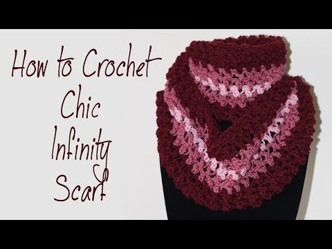 How To Crochet For Beginners #12: Chic Infinity Scarf - YouTube ...
