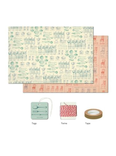 La Maison Wrap Pack | Toad Hollow  #wrappingpaper #vintage #images #cavallini #toadhollow #redbank
