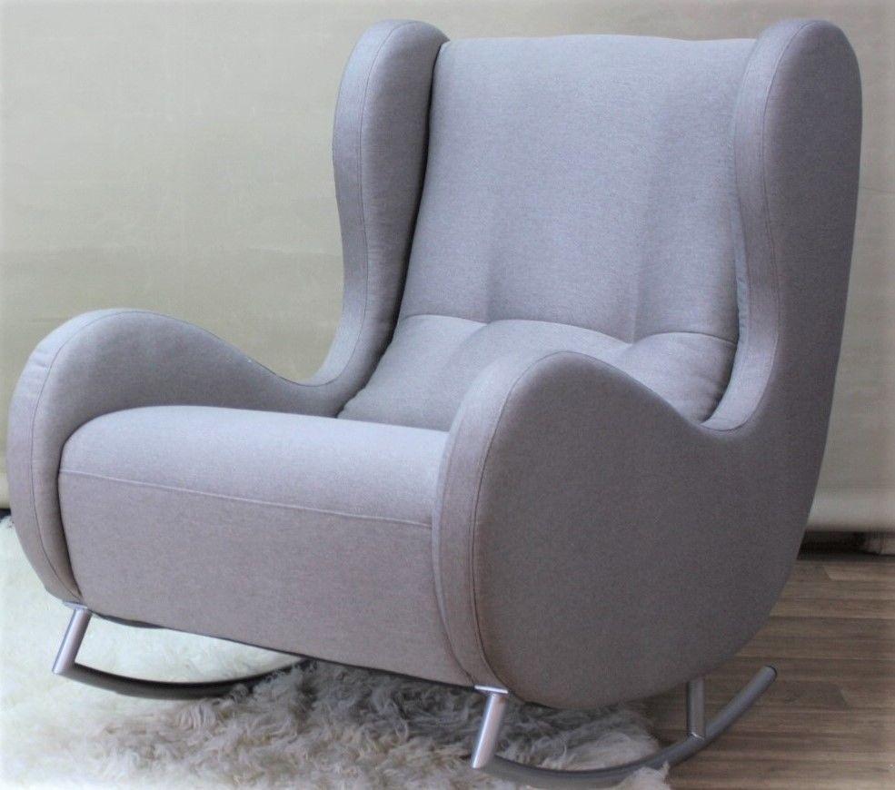 Schaukelsessel Schaukel-Sessel Ohrensessel in Stoff Farbe grau ...