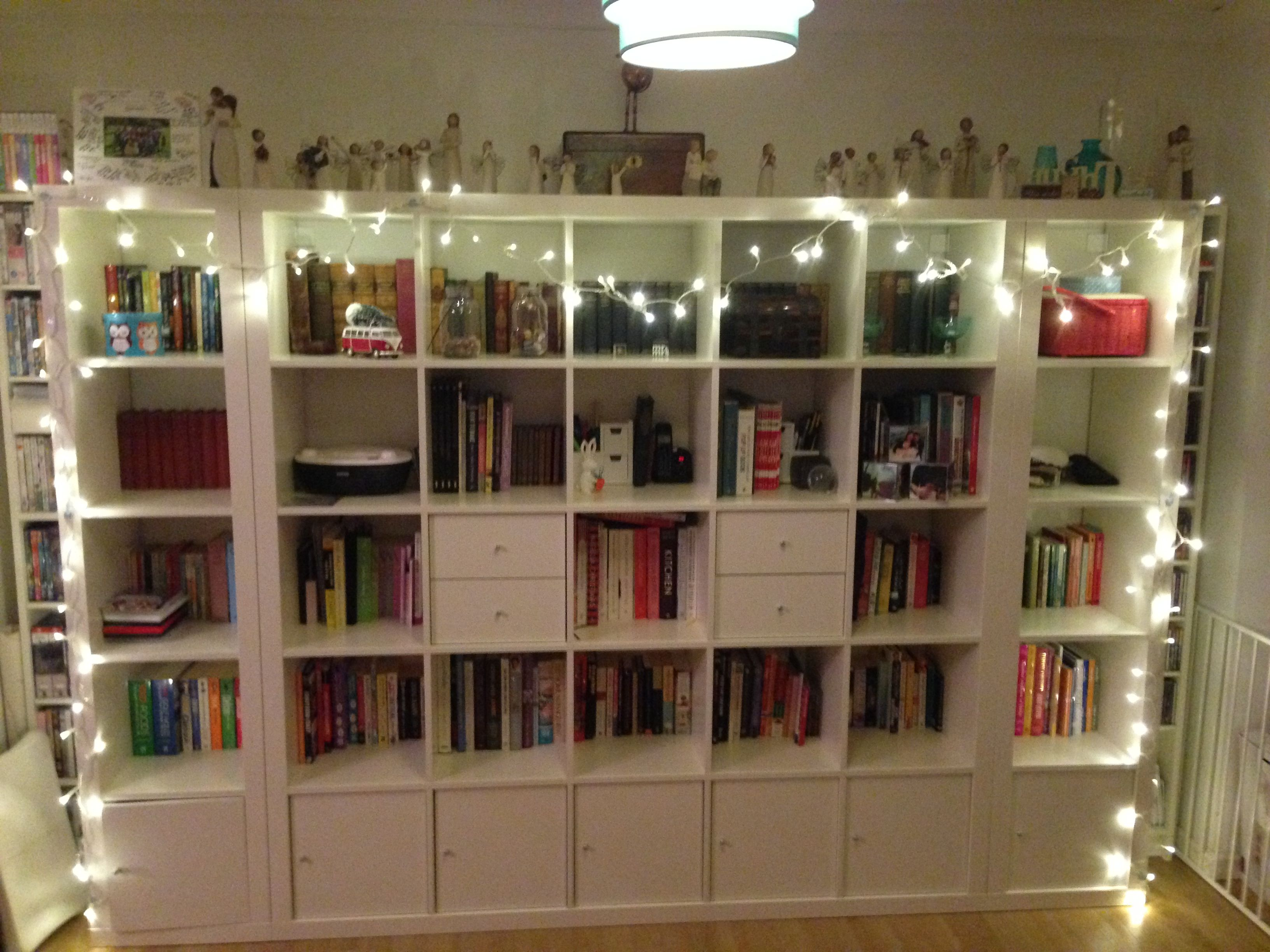 Bookcase with string lights