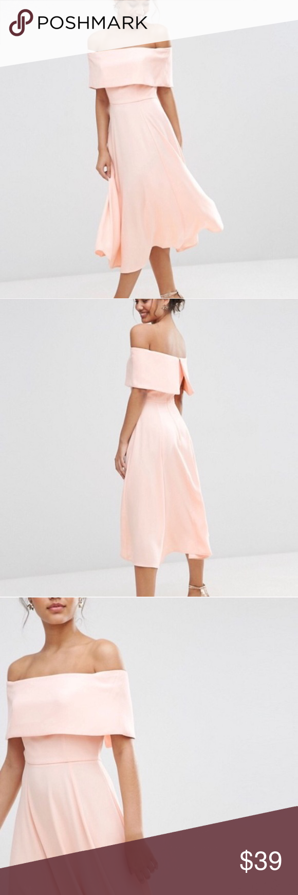ASOS Blush Pink Off the Shoulder Dress NWOT blush pink off the shoulder fit and flare dress. Purchased new from another Posher but the dress is a bit too snug in the bust. US size 4, UK size 8. ASOS Dresses Midi
