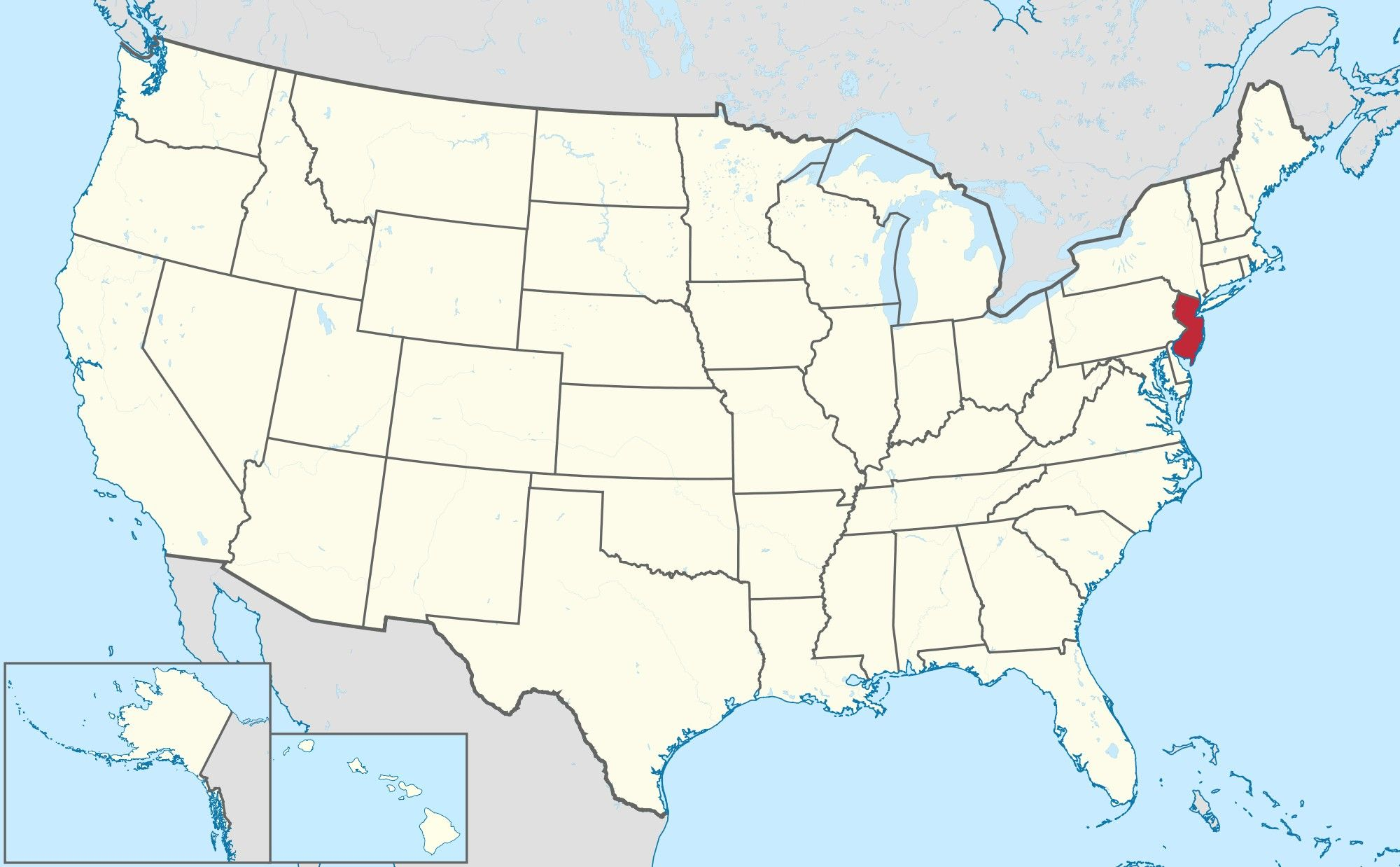 The Map Of New Jersey The U S State Of America In