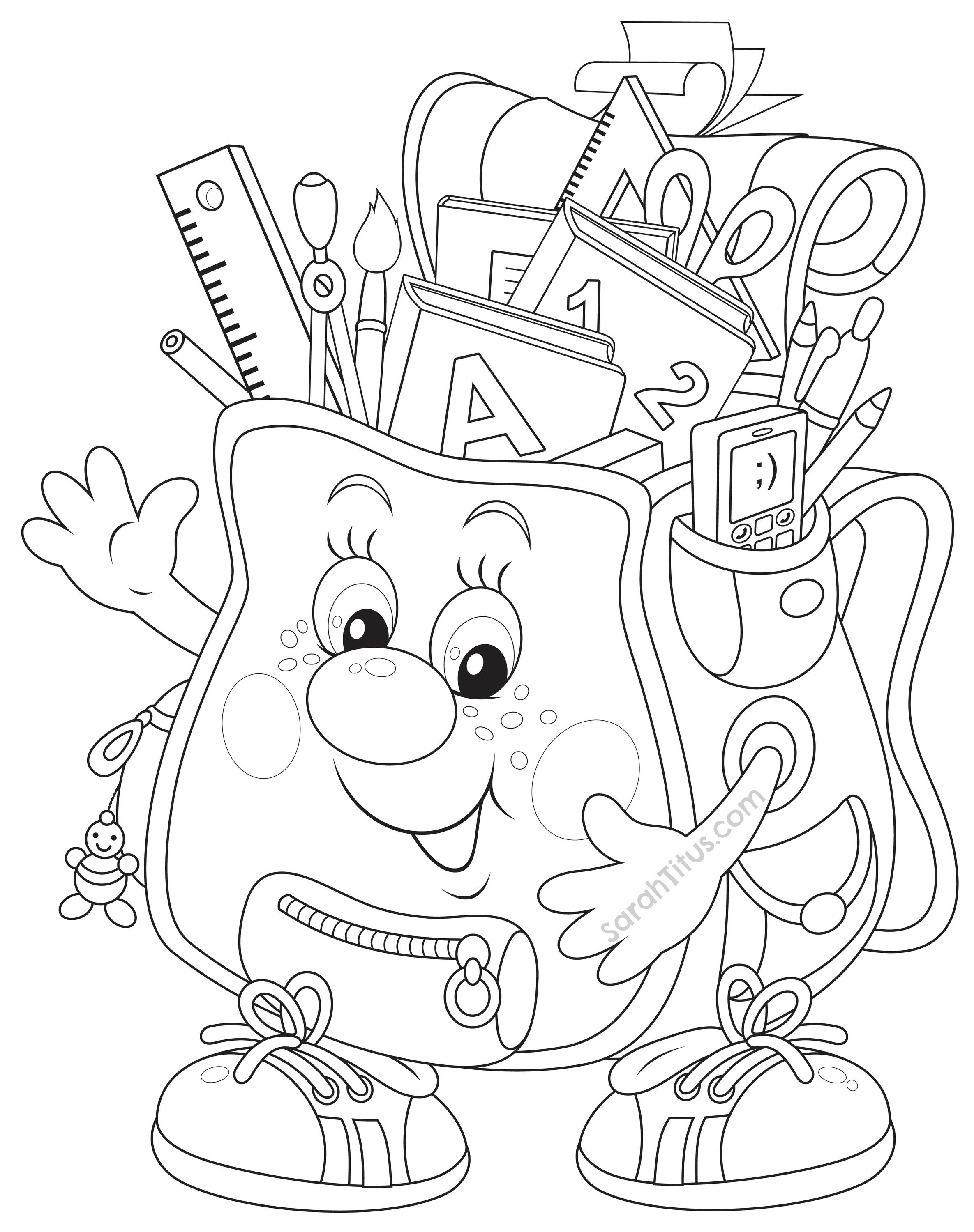 Back to School Coloring Pages | Schulstart, Ausmalbilder und Schulanfang