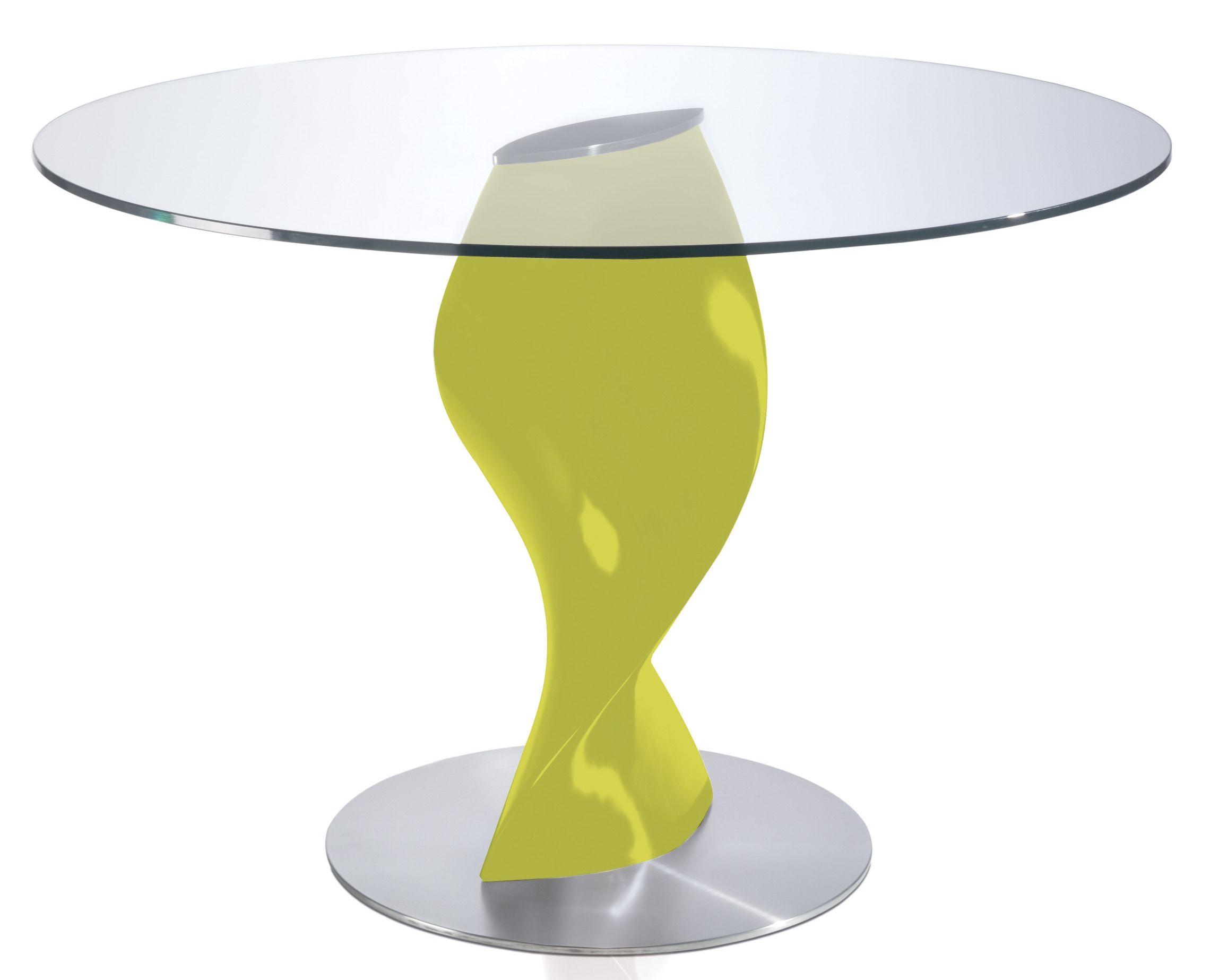 table ronde plateau verre et pied fibre
