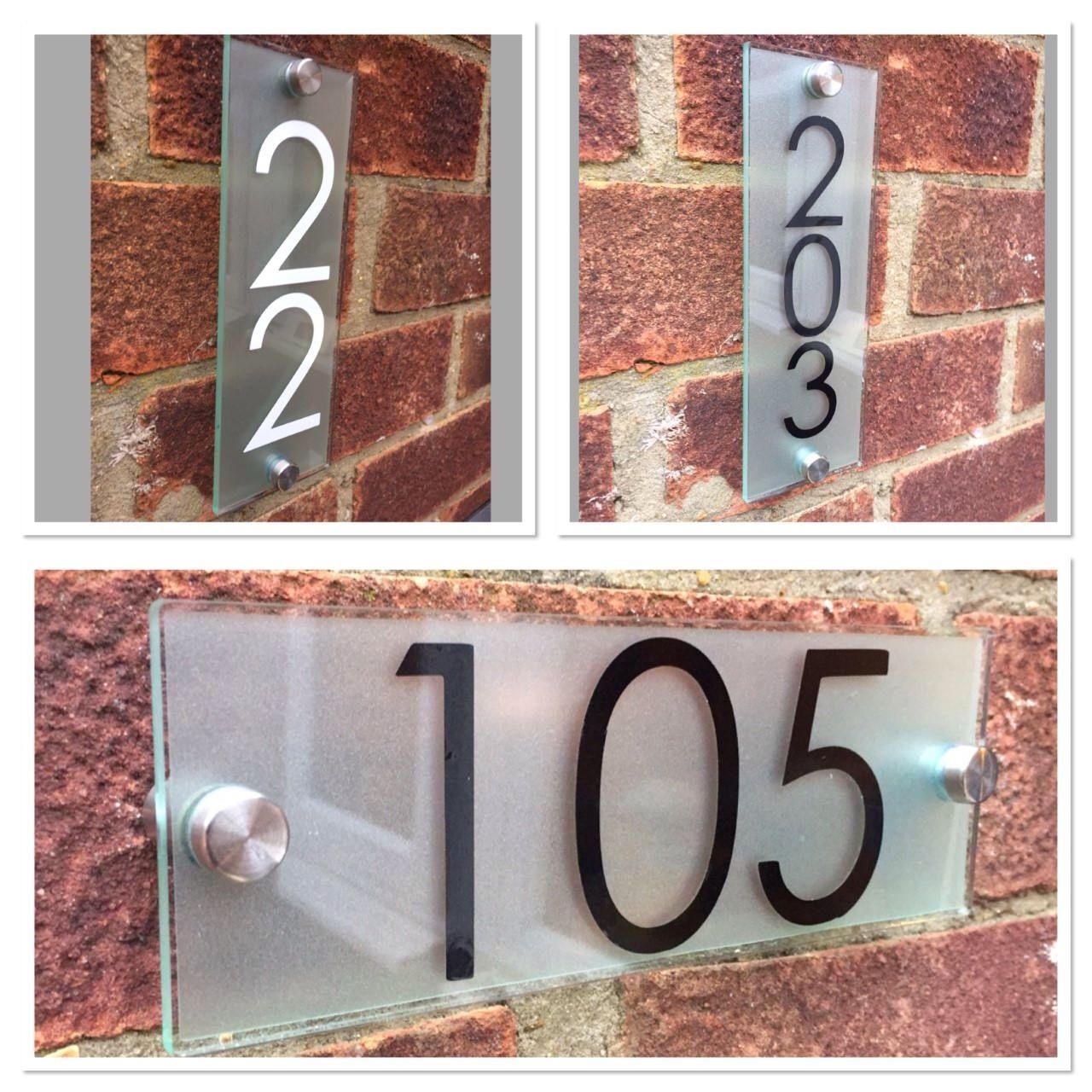 Moderne plaque de maison plaque Maison Nom Effet verre acrylique Argent Maison//nom de rue