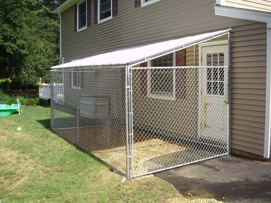 Dog kennel chain link fence fencing pinterest chain for Dog fence enclosure
