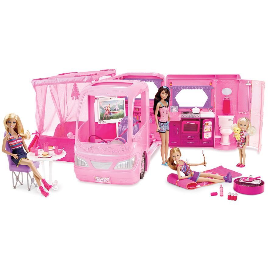 Doll. barbie at toys r us   Barbie Pink Glamour Camper with Dolls Play