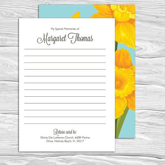 Daffodils Share A Memory Card Attendance Card Funeral Memory Etsy Memorial Cards For Funeral Memory Cards Memories