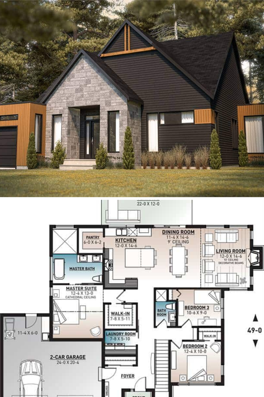 Hygge 3 Bedroom Single Story Scandinavian House Floor Plan In 2020 Gray House Exterior Scandinavian Home Floor Plans