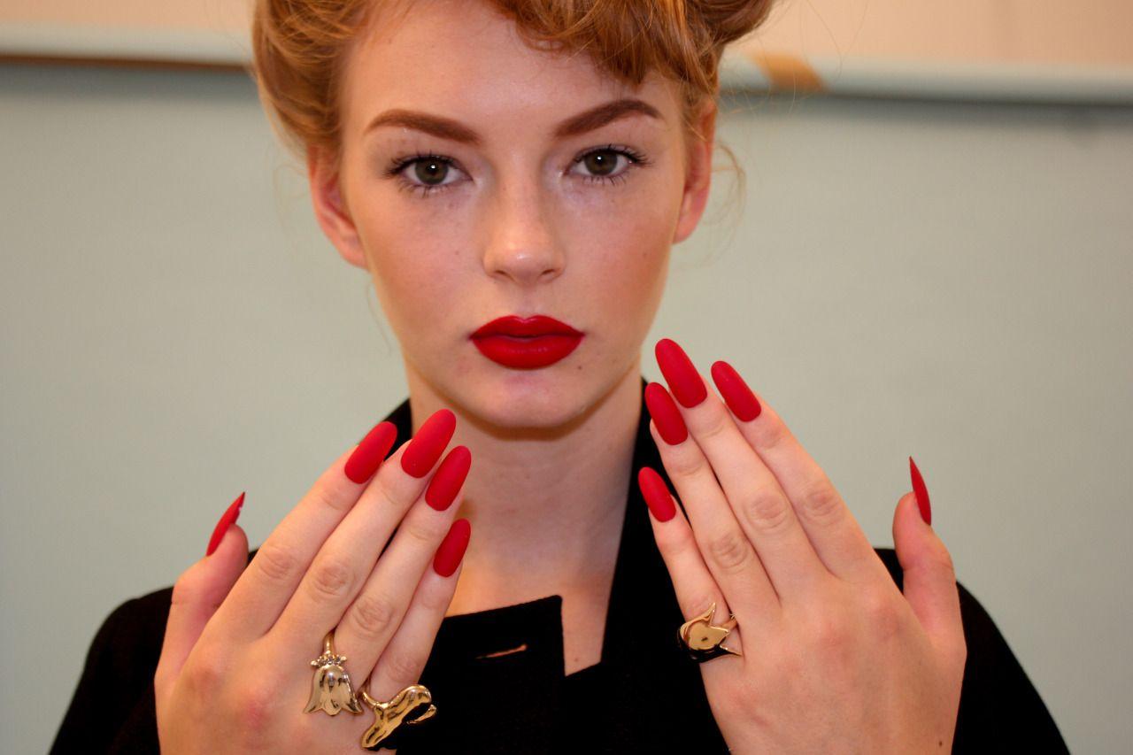 Long Red Matte Oval Nails for Wonderland Shoot | nails | Pinterest ...