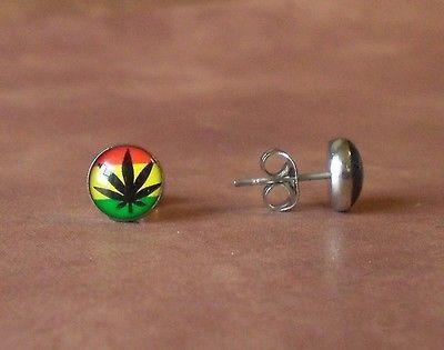 Bob Marley Colors Marijuana Pot Leaf Stainless Steel Stud